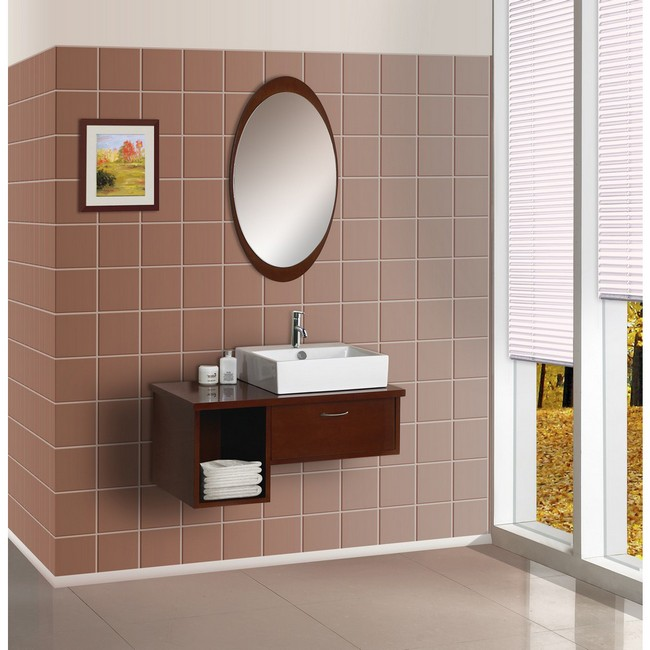 oval mirror with wooden frame on faux tile wall - Bathroom Ideas Mirrors