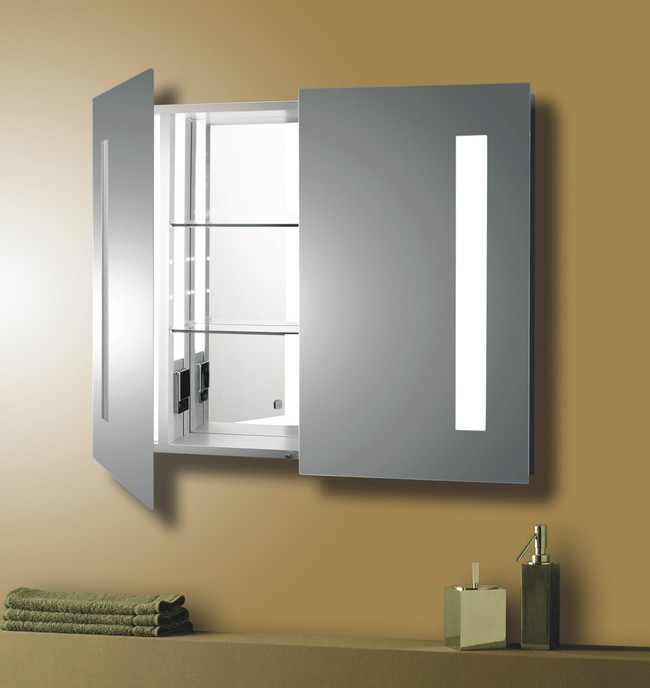 Bathroom wall cabinet with double doors that opens to reveal a mirror in the inside