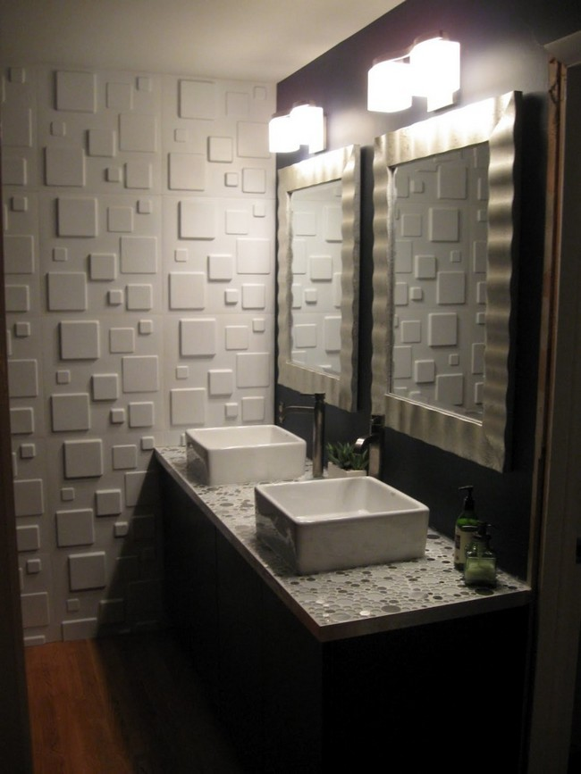 Contemporary white tile wall matching white tile frame of bathroom mirror