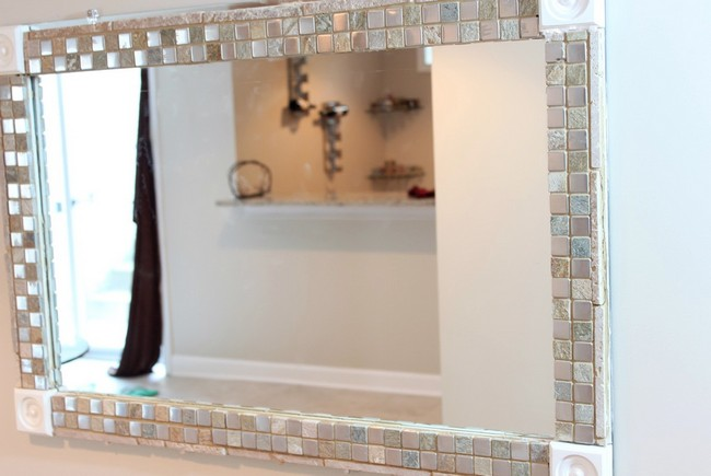 Mirror Placed In Shiny Glass Mosaic Tile