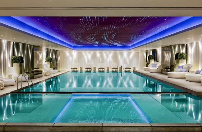 Large indoor pool with magnificent fiber-optic ceiling