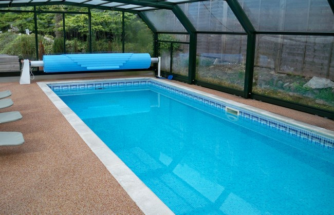 Long, blue, narrow pool inside sunroom