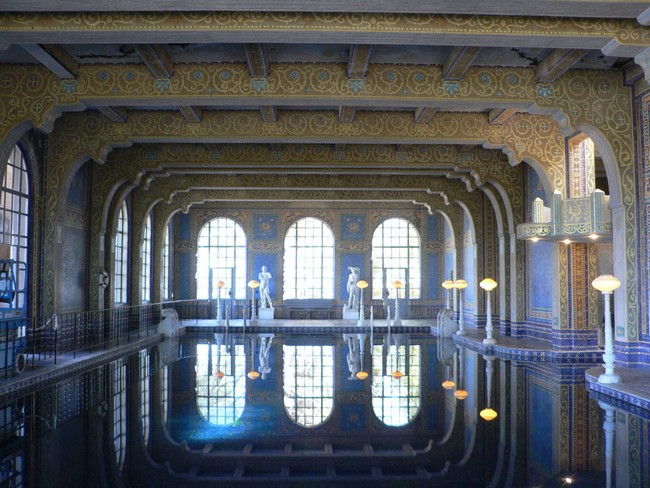 Indoor pool with ancient Roman theme