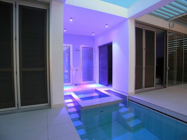 Small lap pool with sauna
