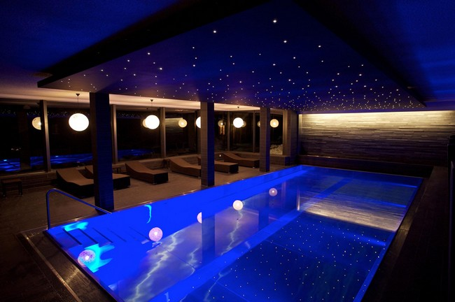 Fiber-optic ceiling above swimming pool