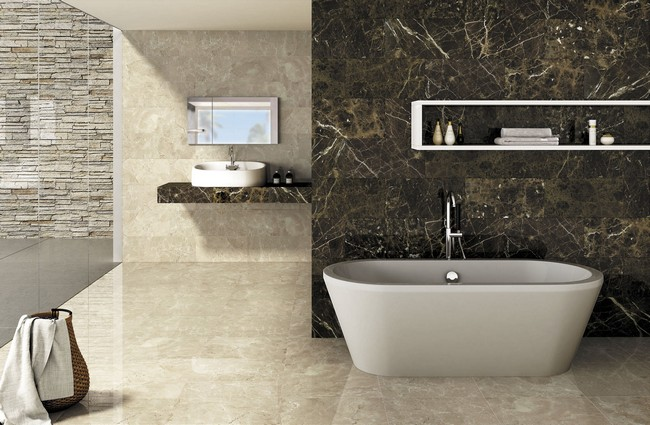 Veined marble bathroom in different colors, with filtered natural lighting from the glass wall