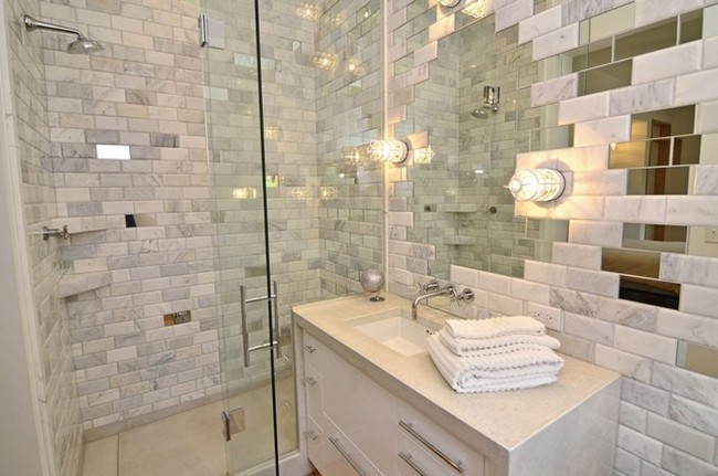 White and grey subway tile made from marble