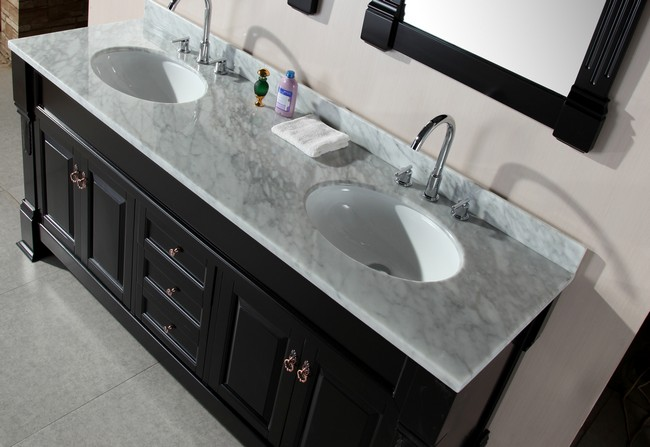 Grey countertop made from marble with vein