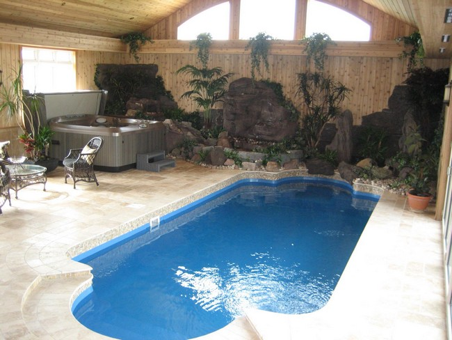 Small indoor pool with rock garden