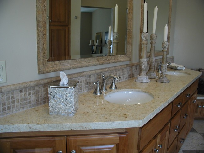 Marble countertop matching marble mirror frame