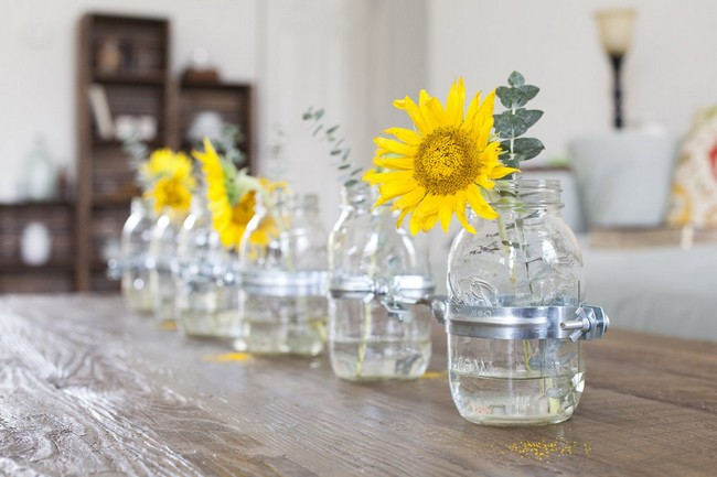 Small glass vases with metallic detail in the middle