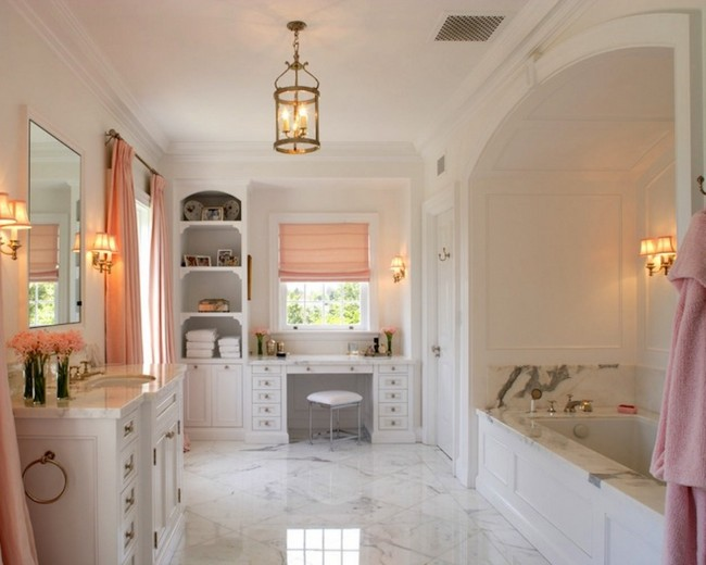 Spacious bathroom with veined marble tile floor