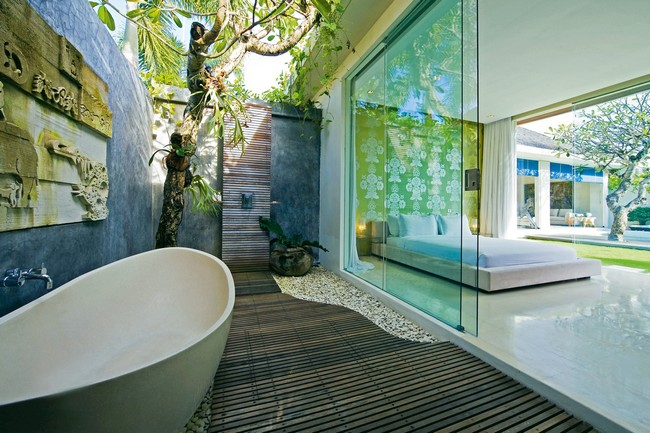 Outdoor tub with sliding glass door