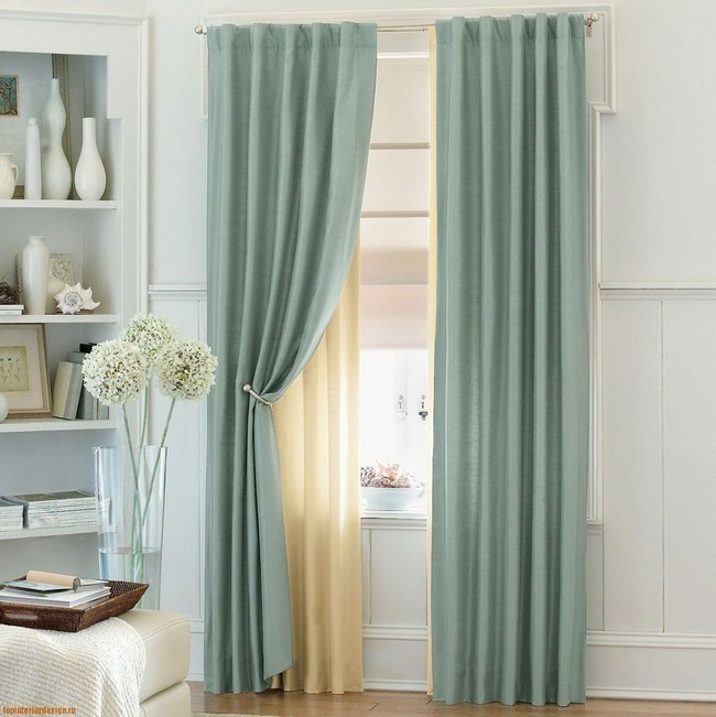 Blue Curtains With Sheer Cream Lining