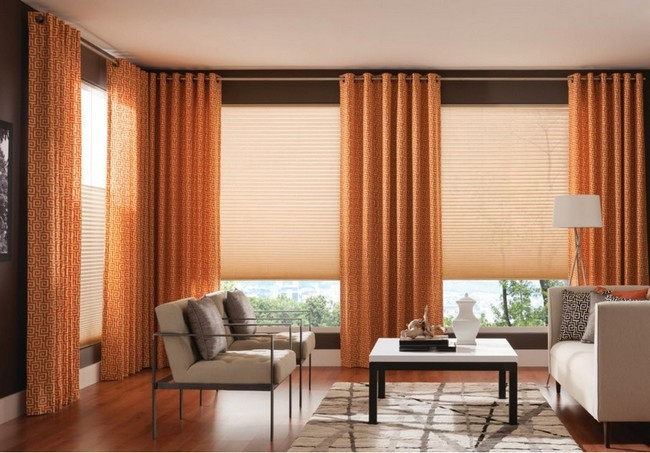 Curtains With Small Patterns Matching Tone Of The Hardwood Floor