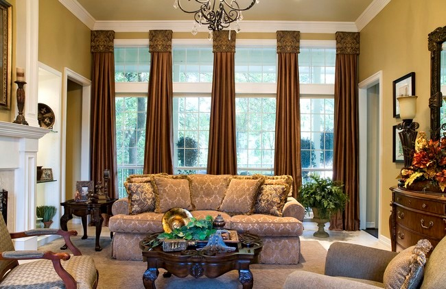 Dark Brown Curtains In Brown Curtain Boxes With Intricate Details