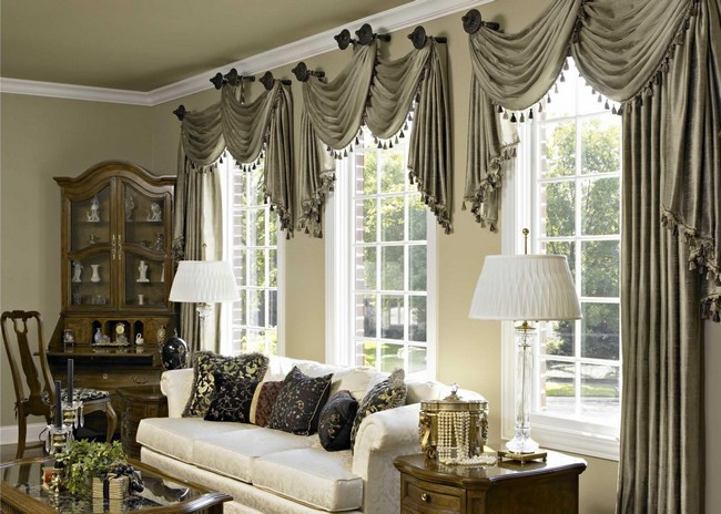 Dark grey linen curtains with decorative details