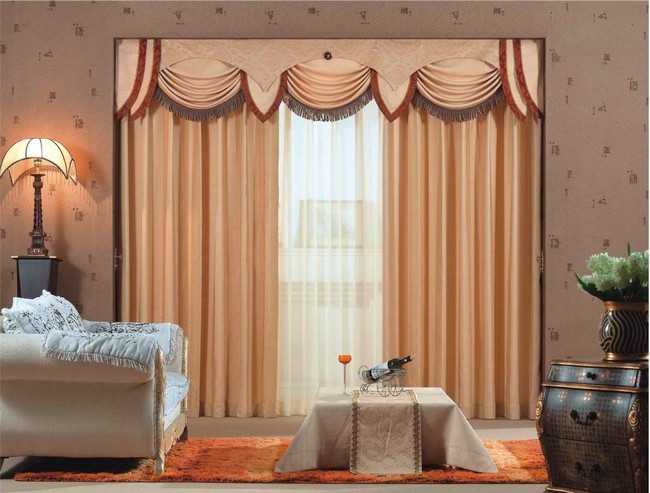 Gold Colored Curtains Against A Brown Toned Wallpaper