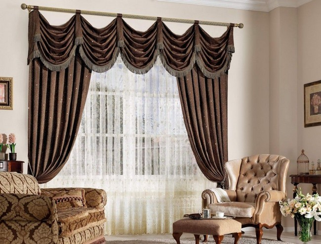 Heavy Dark Brown Curtains With Sophisticated Design