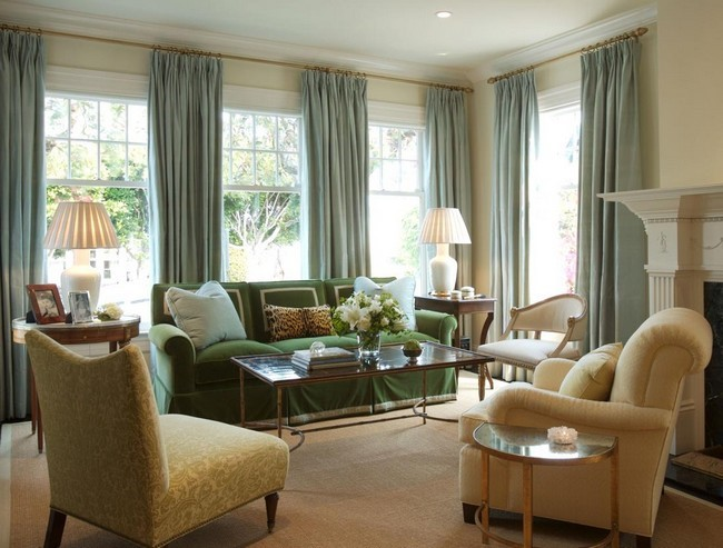 Pale Blue Curtains That Contrast The Color Scheme Of The Room