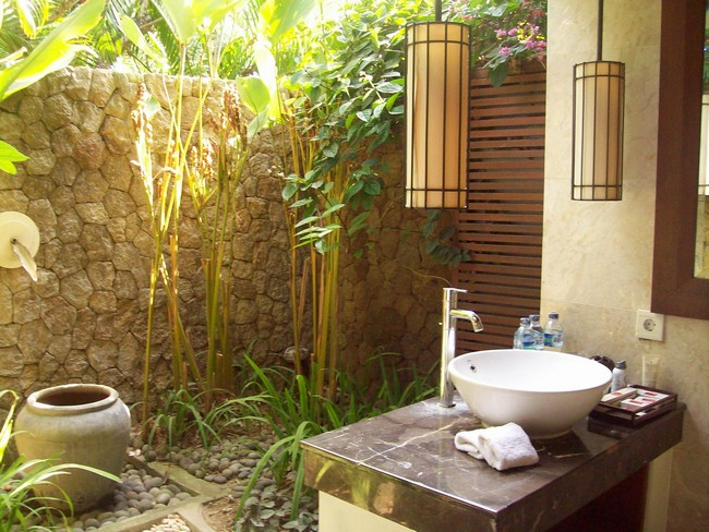 Heavy stone wall surrounding outdoor bathroom with a few plants