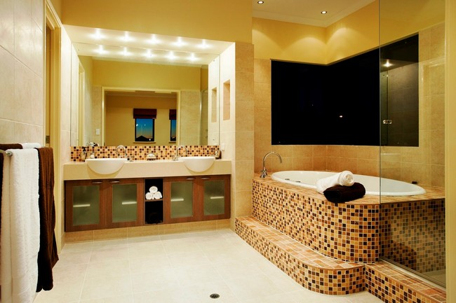 Bathroom with bright lighting
