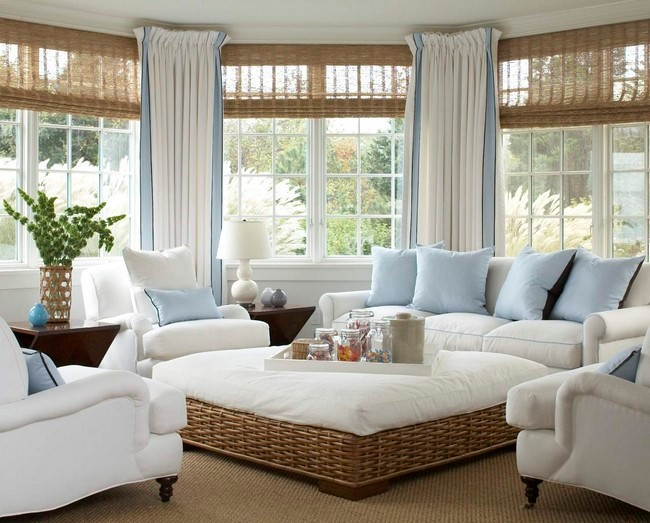 Curtains in white, blue and light brown color schemes