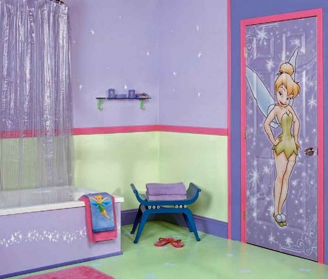 Girl's bathroom with girly artistic drawing on the door