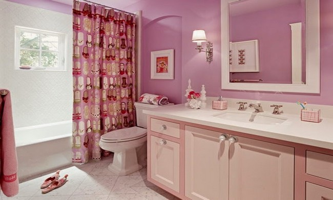 Pink-themed room with pink drapes with drawings