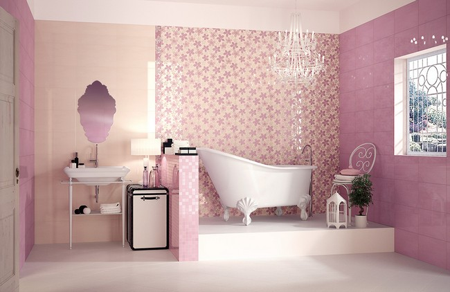 Girl's bathroom with delicate pink color scheme