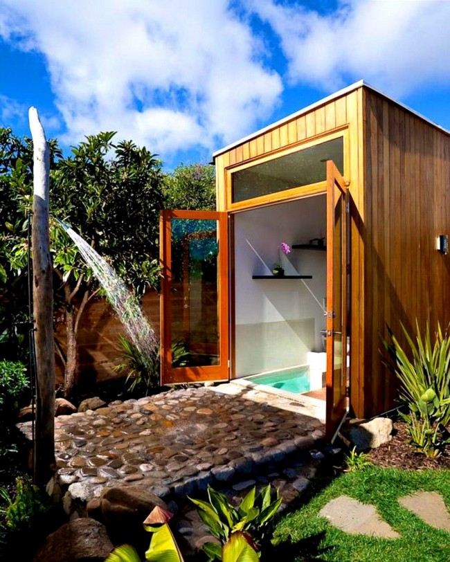 Bathroom opening to the outdoors