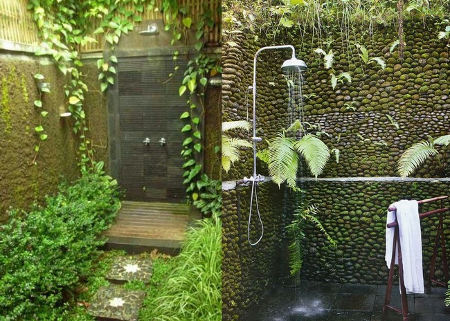 Bathroom on the outside with terrace surrounded by shrubs