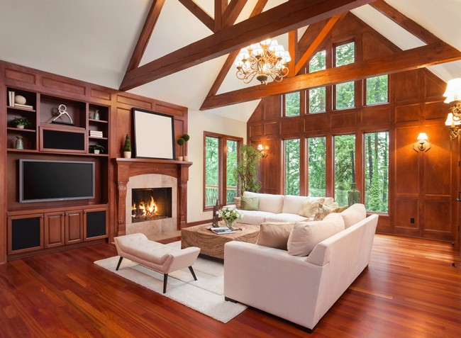 Slanted ceiling with wooden beams in a rustic style living room