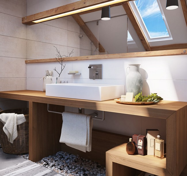 Slanted ceiling bathroom in light colors