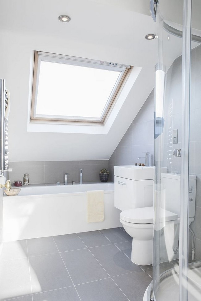 Slanted ceilings for a unique touch in your home s for Small bathroom high ceiling
