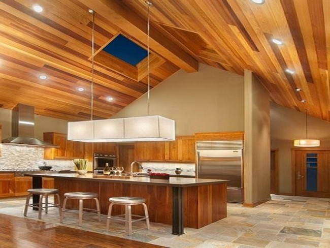 Harwood kitchen with slanted ceiling and low furniture