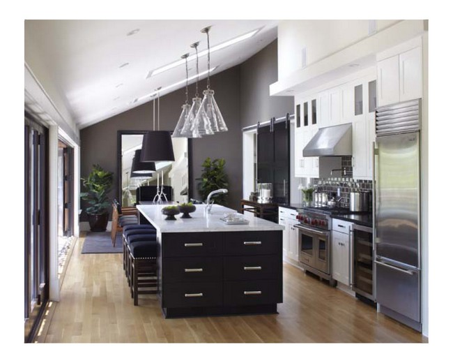 Black and white kitchen with slanted ceiling