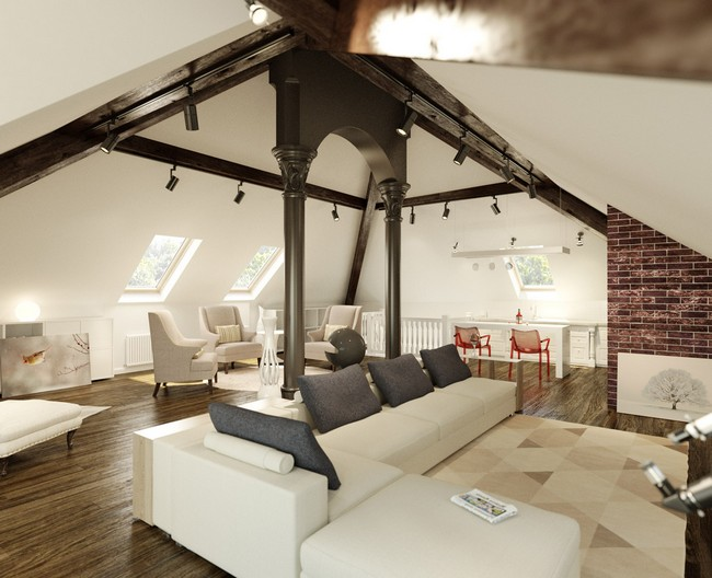 Slanted ceiling as used in an industrial living room design, with metal columns that add charm to the room