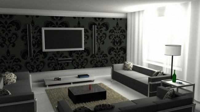 Grey wallpaper with black patterns and brightly lit window