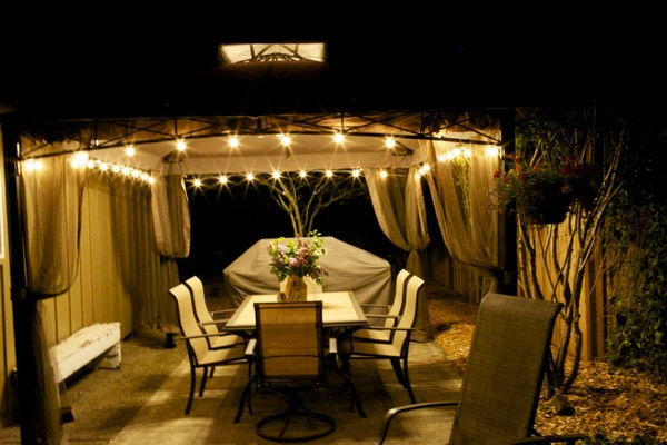 Creative lighting fixtures make your gazebo come alive in the evening