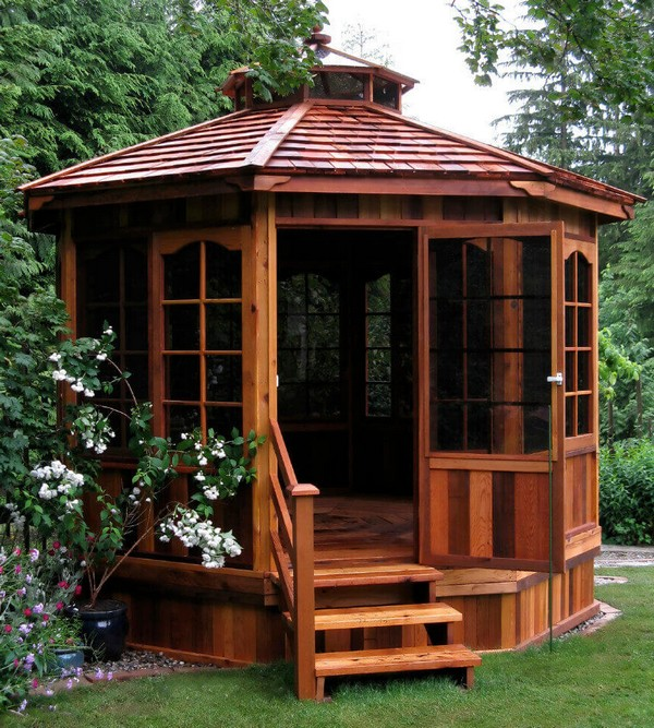 gazebo furniture ideas wooden furniture choice is important as well when decorating your gazebo this simple patio set made from natural material for instance perfect addition to breathtaking gazebos range of simple and extragavagant design