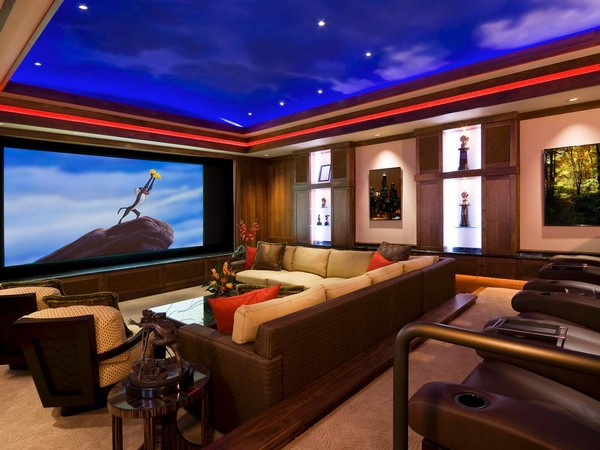 Long, rectangular home theater with false night sky ceiling