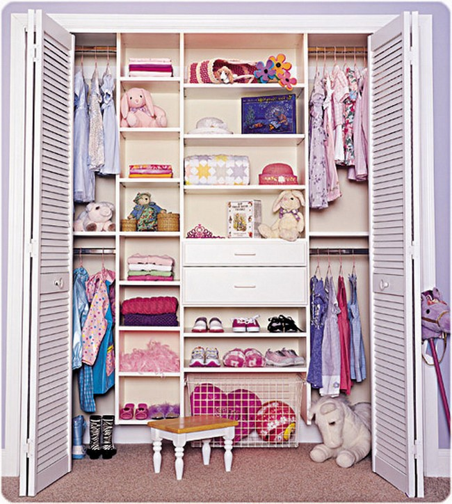 Closet Ideas For Girls. Small Walk In Closet With A Rug And Stuffed