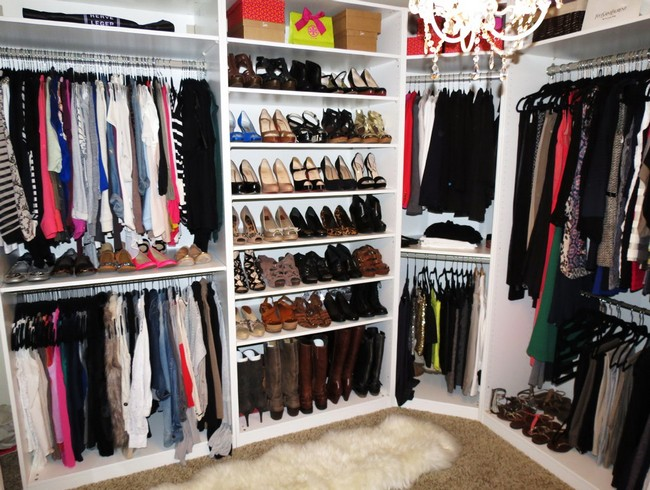 Colorful clothes in this closet act as an accessory on their own