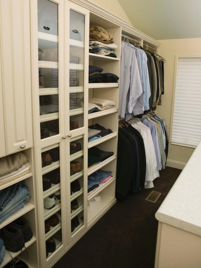 Men's closet with big shoe cabinet