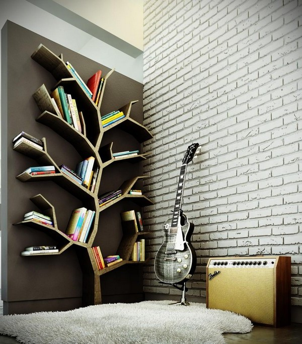 Wall with white subway tile adjoining wall with tree-shaped bookshelf