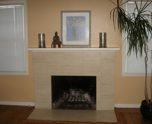Simple fireplace mantel with minimal décor