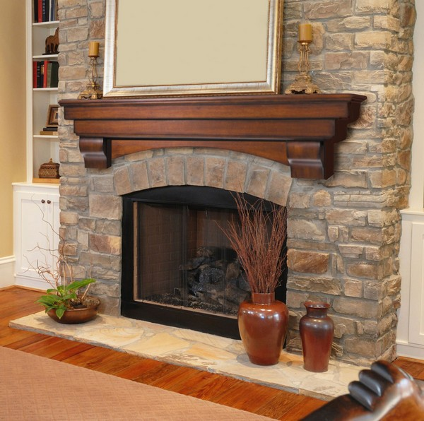 Décor placed on fireplace mantel to create symmetry