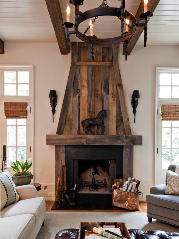 Rustic style fireplace mantel