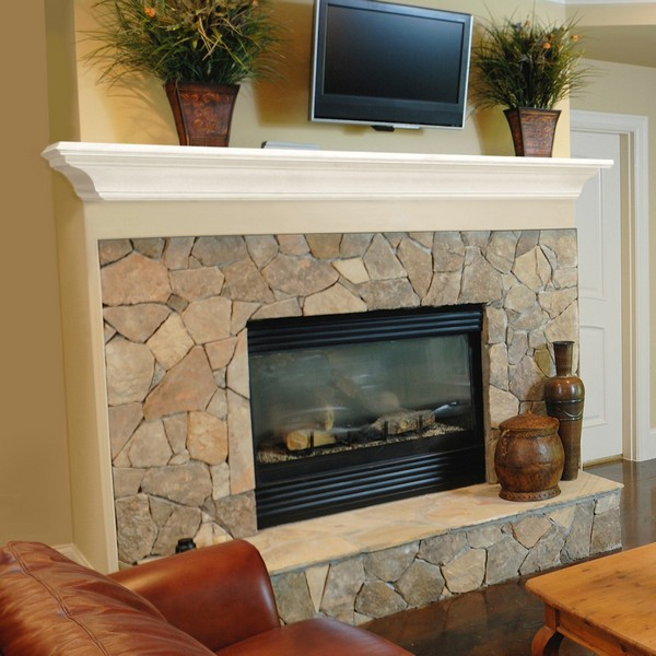 TV above fireplace mantel